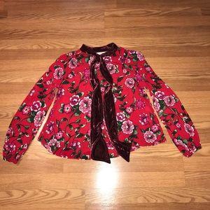 Zara Tops - Zara Trafaluc red floral blouse velvet pussy bow S